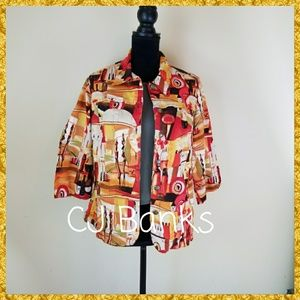 CJ BANKS BUTTON UP JACKET W/ 3/4 SLEEVES, SIZE 14W